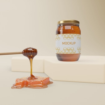 Słoik z makietą organicznego miodu
