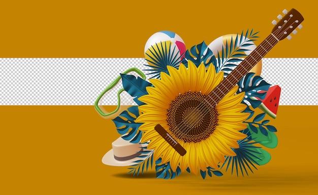Słonecznik gitarowy z letnim dodatkiem, sezon letni, renderowanie 3d