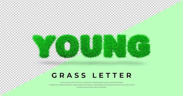 Słowo list młoda trawa