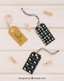 Ślub kopiować z etykietami i clothespins