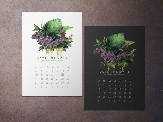 Ślub zapisz datę, jedną z fioletową kartą z motywem kwiatowym