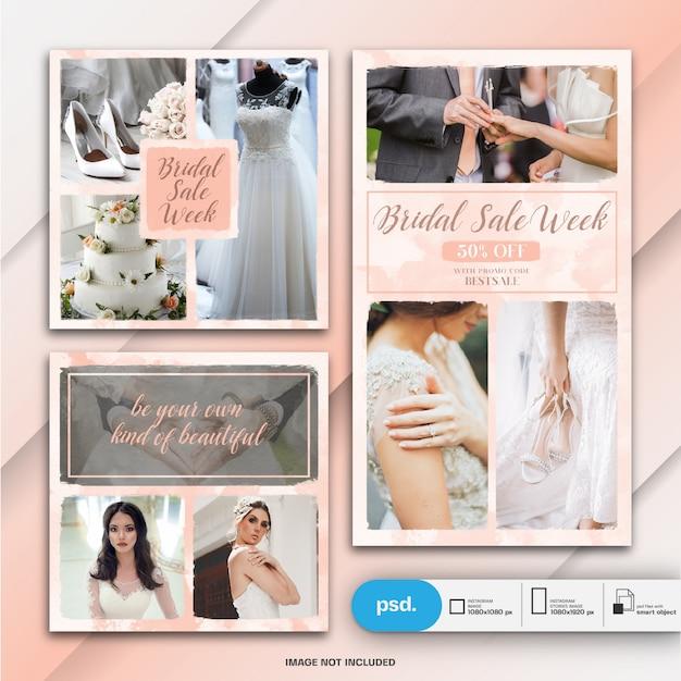Ślubna instagram historia i kwadratowy post lub szablon banner