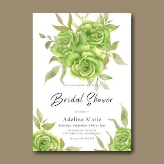 Ślubna karta prysznicowa z akwarelowym zielonym bukietem róż
