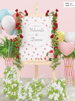 Ślubna makieta banera ślubnego
