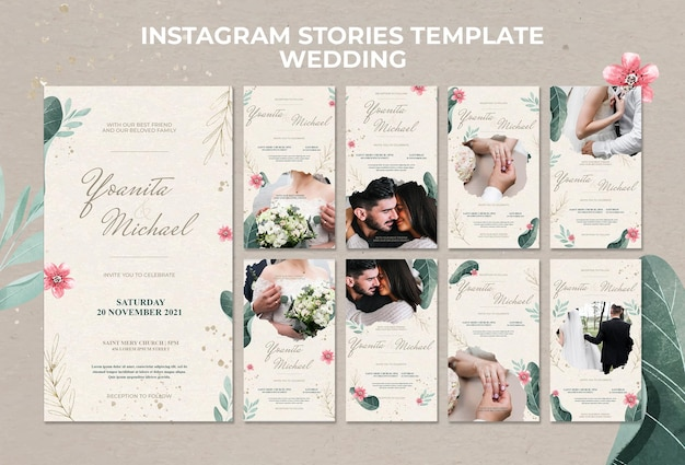 Ślubne Historie Na Instagramie Premium Psd