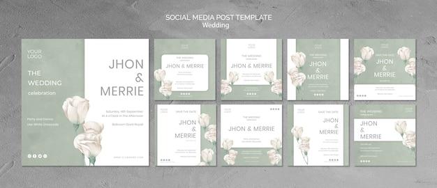 Ślubne media społecznościowe szablon postu