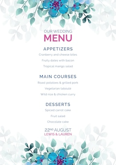 Ślubny menu z błękitnymi kwiatami obramia