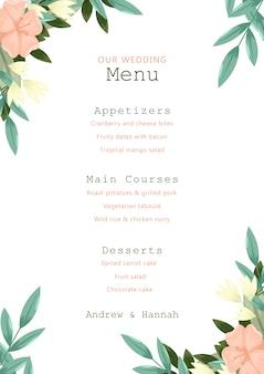 Ślubny menu z różowymi kwiatami obramia