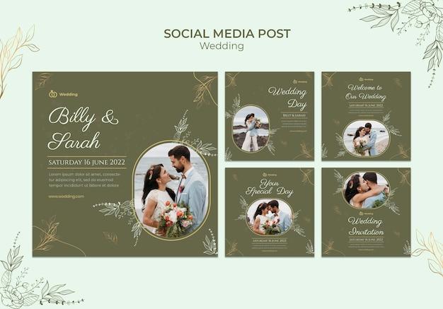 Ślubny szablon postów na instagramie ze zdjęciem