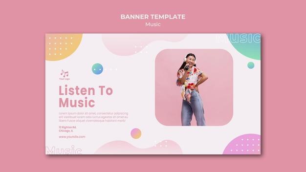Słuchaj szablonu sieci web banner muzyki