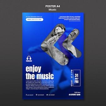 Słuchanie szablonu plakatu muzycznego