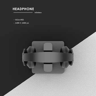 Słuchawki bezprzewodowe ze stacją ładującą renderowanie z widoku z góry