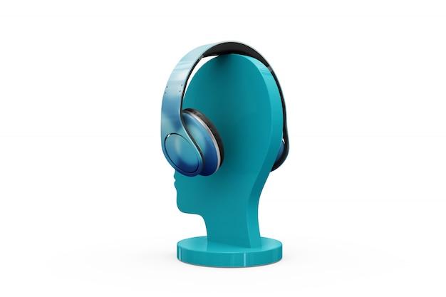 Słuchawki makiety na białym tle