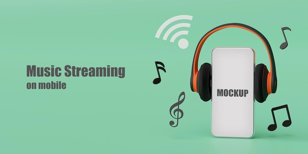 Słuchawki z makietą smartfona renderowania 3d
