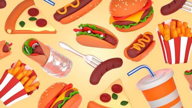 Smaczna makieta renderowania fast food