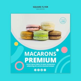 Smaczne macarons premium kwadratowa ulotka