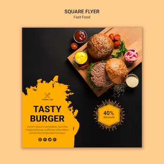 Smaczny burger kwadratowy szablon ulotki