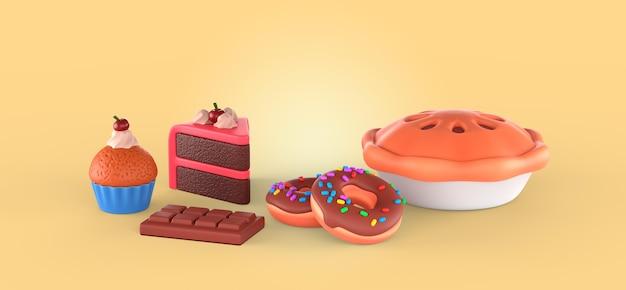 Smaczny deser renderujący makieta