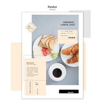 Smaczny szablon plakat brunch i lunch