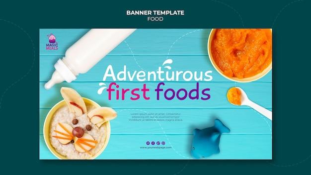 Smaczny szablon transparentu z jedzeniem dla dzieci