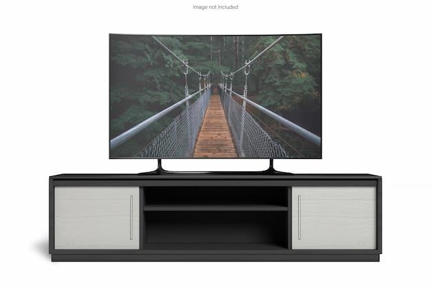 Smart tv z makietą biurka z widokiem z przodu