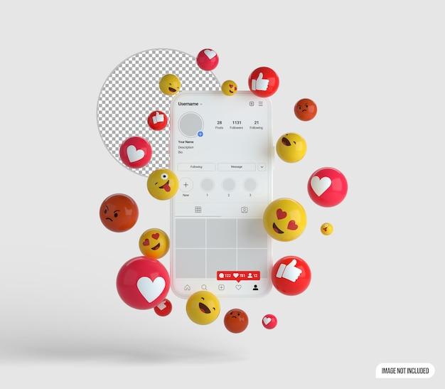 Smartfon 3d i emotikony na instagramie makieta