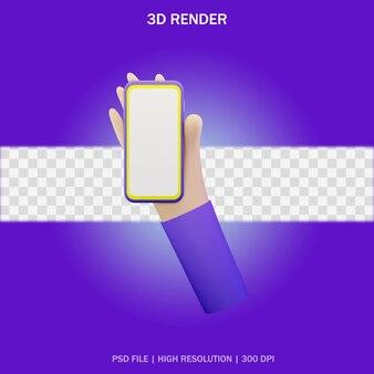 Smartfon pod ręką z pustym ekranem i przezroczystym tłem w projekcie 3d