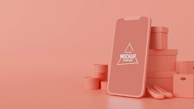 Smartfon z ekranem makiety, produktem, torbami na zakupy i pudełkami na różowym tle, renderowanie 3d, ilustracja 3d