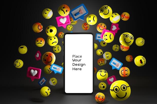 Smartfon z ikonami emotikonów kreskówek dla mediów społecznościowych w renderowaniu 3d