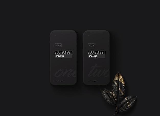 Smartfony Ustawiają Makietę Z Czarnymi Liśćmi Premium Psd