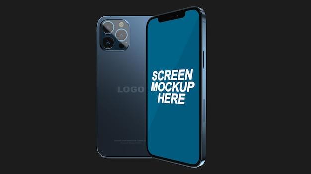 Smartphone 12 pro max blue mockup psd