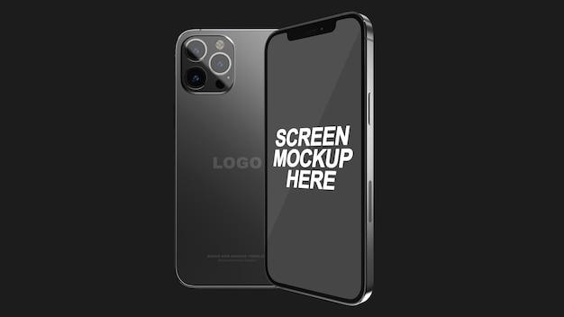 Smartphone 12 pro max czarna makieta psd