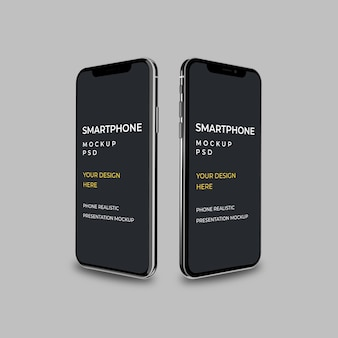Smartphone dwie strony makieta na białym tle