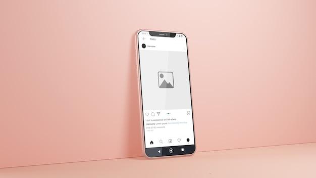 Smartphone instagram makieta na białym tle