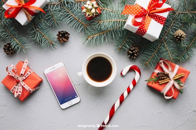 Smartphone makieta z boże narodzenie projekt