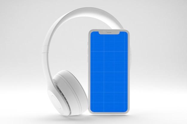 Smartphone z makiety ekranu i słuchawki, koncepcja aplikacji muzyki