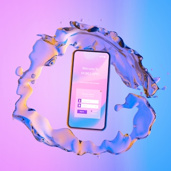 Smartphone ze stroną logowania i kolorowym płynnym tłem