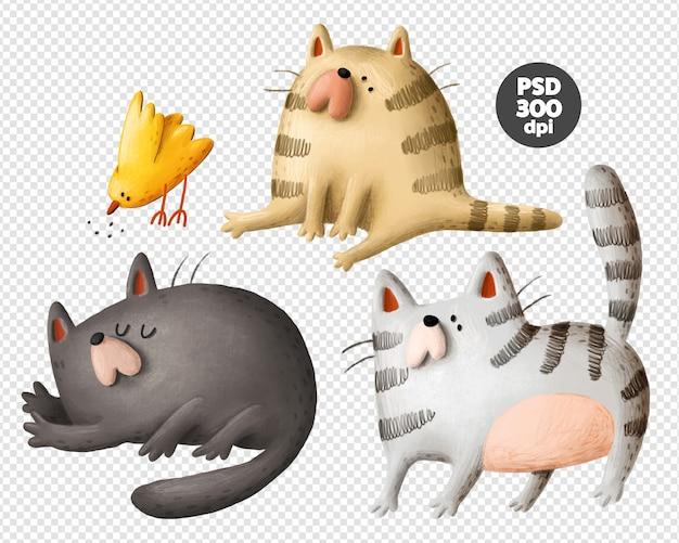 Śmieszne koty i ptak