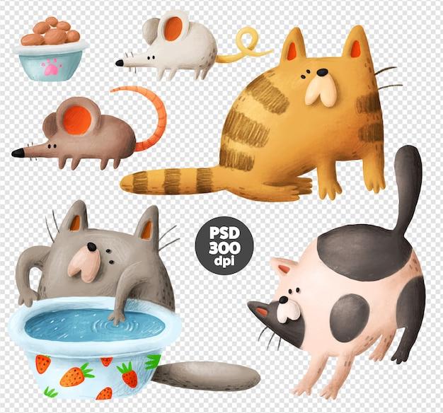 Śmieszne koty ręcznie rysowane clipart