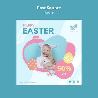 Smiley dziewczyna trzyma królika poczta kwadrata szablon