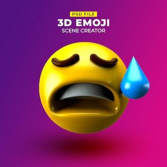 Smutny emoji 3d z twarzą rozczarowaną, ale z ulgą