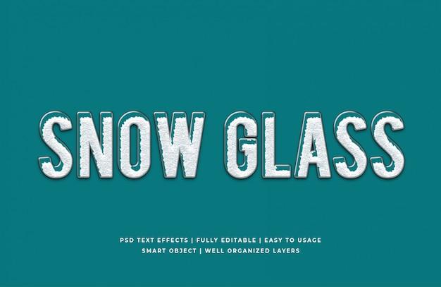 Śnieżna szklana makieta efektu stylu tekstu 3d