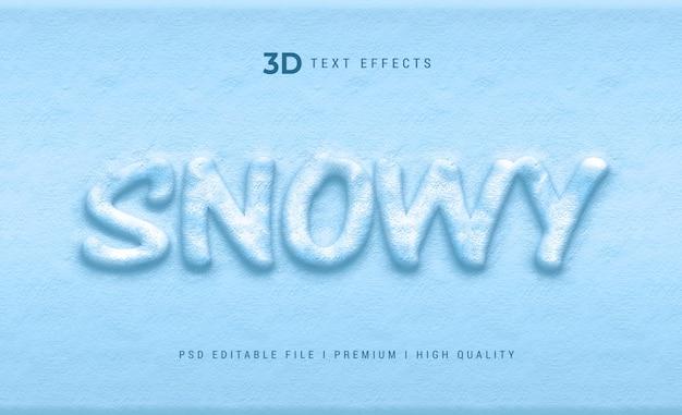 Snowy 3d szablon efektu stylu tekstu