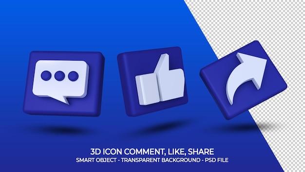 Social media 3d ikona komentarz jak udział na białym tle