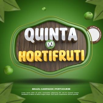 Social media 3d label czwartkowy skład sklepu spożywczego dla kampanii supermarketów w brazylii
