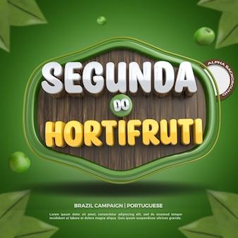 Social media 3d label poniedziałkowy skład sklepu spożywczego dla kampanii supermarketów w brazylii