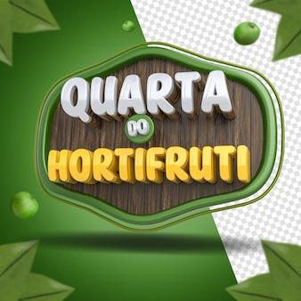 Social media 3d label środowy skład sklepu spożywczego dla kampanii supermarketów w brazylii
