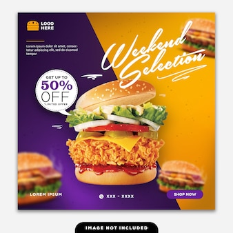Social media banner post food burger sale