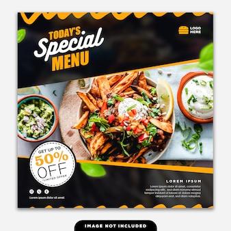Social media banner post food delicious menu