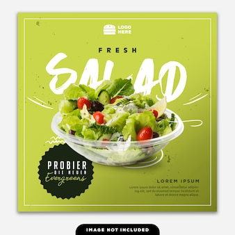 Social media banner post food salad green